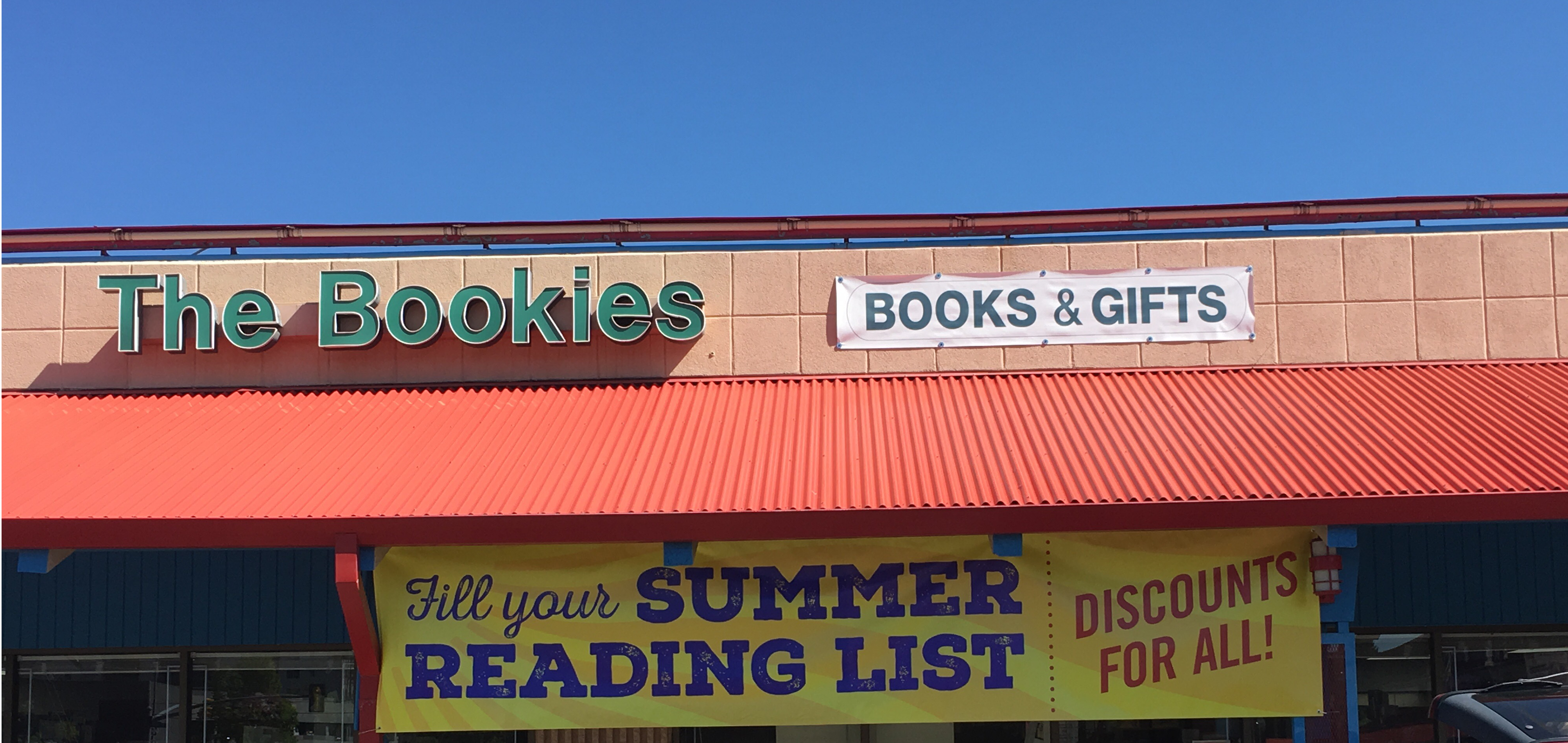 The Bookies Bookstore front with summer banner
